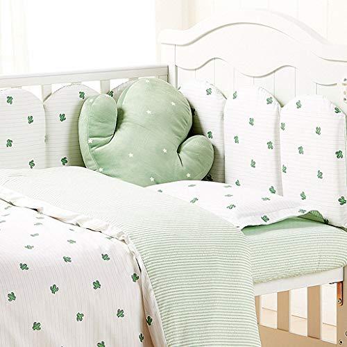 YOUXD Krippe Stoßfänger Fives-Stück Baumwolle Antikollision, Kinder Herbst und Winter Krippe Stoßstange (Color : Green, Size : 70cm*150cm) -