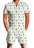 Chicolife Mens White Ananas und Banana Printed Shirts mit Strand Shorts Hosen Strampler Overall Outfits Kleidung M