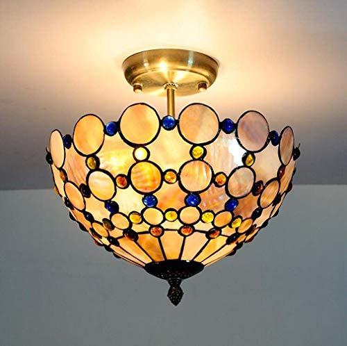 Tiffany-Stil Deckenleuchte Lampe Semi Flush Mount, 12 Zoll natürliche farbige Schale Schatten Schmiedeeisen Bronze Deckenleuchte für Dinner Room Pendant Hanging 2 Light (Küche Anhänger 2 Insel Leichte)