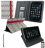 Emartbuy® AlpenTab 7 Zoll Tablet PC Universalbereich TextuRot Monochrome Zigzag Multi Winkel Folio Executive Case Cover Wallet Hülle Schutzhülle mit Kartensteckplätze + Silber 2 in 1 Eingabestift