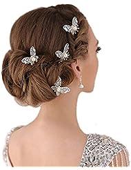 Bodhi20006pcs en forme de U Papillon épingles à cheveux pour mariage Fausse Perle Pinces à cheveux–Doré