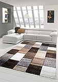 Designer Teppich Moderner Teppich Wohnzimmer Teppich Kurzflor Teppich mit Konturenschnitt Karo Muster Braun Grau Cream Taupe Größe 160x230 cm