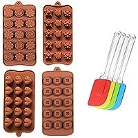 4x Silikon Backform + 1x Schaber Backform Kuchenform Pralinenform Tortenform Eiswürfel Brotform Förmchen Backformen Schokoladenform