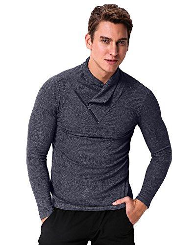 MODCHOK Herren Longsleeve Langarmshirt Sweatshirt Einfarbig Shirt T-Shirt Hoher Hals Zipper Slim Fit Dunkelgrau
