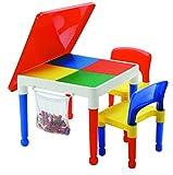 LibertyHouseToys Mehrzweck-Aktivität Tisch und 2Stühle mit Aufbewahrungstasche, Multi, 51x 51x 43cm