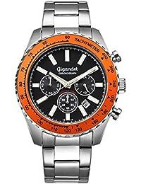 Gigandet Quarz Herren-Armbanduhr Chrono King Chronograph Uhr Datum Analog Edelstahlarmband Silber Schwarz G28-006