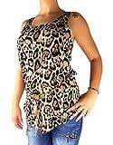 Damen Top Lang mit Leoparden Muster Leo Print in 5 Farben mit Bindegürtel Federn, Größe:M/L, Farbe:Braun
