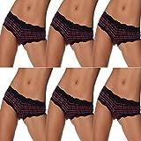 6er Pack Damen Pantys Unterwäsche Hot Pants Dessous Hipster Boxershorts mit Karo Spitze Schleife (M (34), 6x Schwarz)