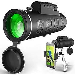 Télescope Monoculaire, Oculaires Réglables, FMC Revêtement, Deux Volants pour Focaliser, Mini Trépied pour Smartphone, Utilisé pour Voyages Chasse, Sports, Concerts