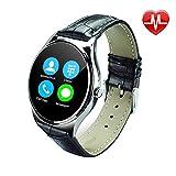 Reloj inteligente US03 con monitor del ritmo cardíaco, la cámara remota, podómetro Reloj de pulsera, pulsera de fitness, poligrafía sedentario Recordatorios vida impermeable pulsera-Negro, correa de cuero