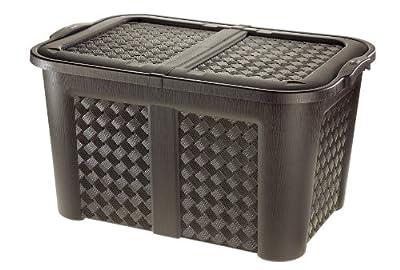 XXL Gartentruhe / Haushaltsbox in Geflecht-Optik aus Kunststoff für 123 Liter, sehr hochwertig verarbeitet (wenge) von Tontarelli