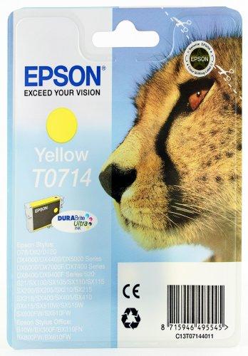Epson t071 serie ghepardo, cartuccia originale getto d'inchiostro durabrite ultra, formato standard, giallo