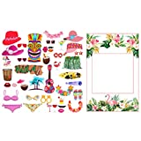 Amycute 33 Pezzi Hawaii Photo Booth Cornice Selfie Cornice Luau Photo Booth Props Kit, Tropical Tema Photo Booth Puntelli Cornice per Hawaiian Luau Party Spiaggia Estiva Matrimonio Compleanno