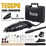 Multifunktionswerkzeug, TECCPO 8000-35000 U/min 170W Mehrzweckschleifmaschine, Drehwerkzeug, Rotary tool mit 5 Drehzahleinstellungen, 80 Zubehör, Flex Welle & 3 Backenfutter für Heimwerker - TART04P