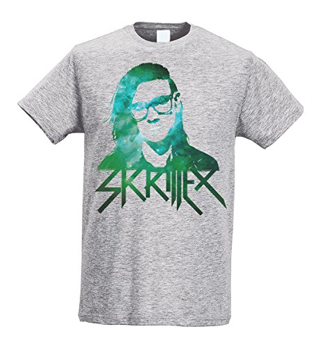 Herren-T-shirt Slim - Skrillex - Green Texture - Maglietta 100% baumwolle ring spun LaMAGLIERIA,L, Grau