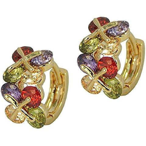 Hot trendy cerchio stile–placcato oro pulsante Orecchini di cristallo multicolore in confezione regalo - Hot Diamonds Cerchio Orecchini