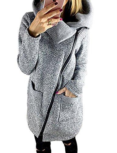 570G junshan mantels Dames Zwart lang jas UPDATED outwear tops strickmäntel Warm oversized 40 Grau  (Herstellergröße L)