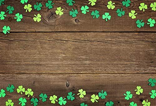 YongFoto 3x2m Vinyl St. Patrick's Day Foto Hintergrund Grüne und hellgrüne Kleeblattklee Braunes Holzbrett Fotografie Hintergrund Fotostudio Hintergründe Requisiten