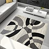 TAPISO Tapis De Salon Moderne Collection Omega - Couleur Gris Noir Motif Vagues - Mesures S-XXXL 200 x 300 cm
