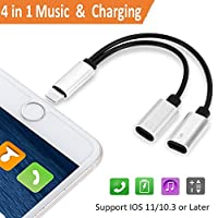 Jack lighting Headphone Adapter for iPhone 7/7Plus iphone 8/8Plus iPhone X/10, Earbud Adapter Lighting Charger, Lighting to Aux Headphone Jack Adapter. Audio & Charge & Call Adapter for iOS 11