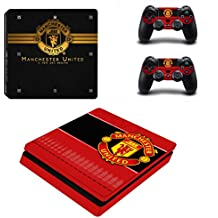 Hytech Plus Theme Sticker For PS4 Slim Console And 2 Controllers - Manchester United Special Band Edition (Black)