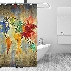 jstel Decor cortina de ducha Vintage mapa del mundo patrón impresión 100% poliéster 66x 72pulgadas para hogar baño decorativo ducha baño cortinas con ganchos de plástico
