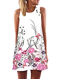 TUDUZ Women Dresses,Women's Summer Boho Floral Printed Sleeveless A-Line Dress Casual Loose Chiffon Dress Evening Party Beach Mini Dresses Sundress