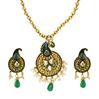 Fasherati Peacock Style Green Enameled with Green Drop Necklace Set for Women