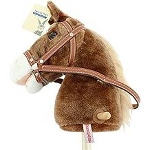 Sweety-Toys - Cavallo su bastone, marrone con criniera chiara; premendo le orecchie parte una canzone da cowboy, lunghezza: 1 m ca., maniglie per tenersi e ruote in legno