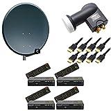 PremiumX Komplett Digital 4 Teilnehmer Sat Anlage Schüssel 80cm Antenne Spiegel Anthrazit + Quad LNB 0,1 dB 4K + 4x HDTV Sat Receiver