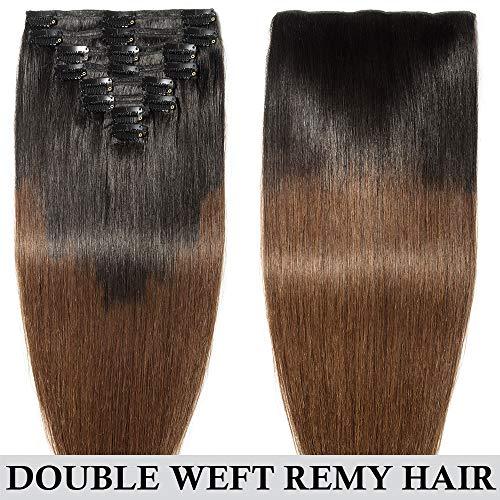 Extension capelli veri clip shatush double weft 8 fasce remy human hair xxl full head set lisci lunga 45cm pesa 150g, #1b nero naturale ombre #4 marrone cioccolato