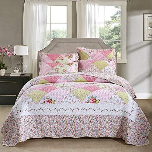 Qucover Tagesdecke Set mit Kissen, Gesteppte Decke aus Baumwolle, Überwurf für Sofa/Doppelbett, Steppdecke in 230 x 250 cm, Landhaus Patchwork Stil Rosa, 7919847