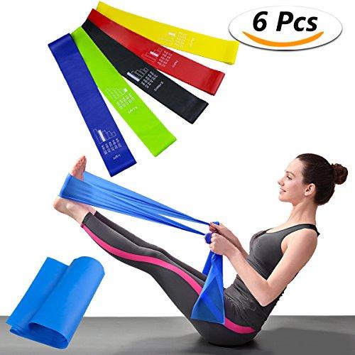 Elastiche fitness banda elastica set di 6 fasce resistenza bande - lattice naturale loop resistance bands fitness, yoga, pilates o per riabilitazione dopo un infortunio, adatte a uomini e donne