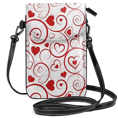 Jiger Women Small Cell Phone Purse Crossbody,Love And Adoration Themed Vivid Colored Swirls Vortexes And Hearts Abstract Romance -
