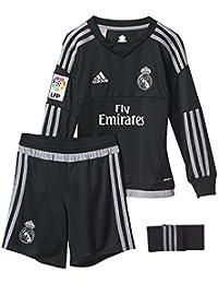 adidas 1ª Equipación Real Madrid CF SMU M - Conjunto de portero, color negro/gris, talla 104