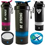 BeMo® Motivational Shaker 800ml, Protein and Supplement Shaker, 100% Leak Proof, Motivational Logos, BPA Free, Additional Storage, Carrying Loop and Carabiner Clip for Attaching to Keys or Bag (Blue, BE STRONG)