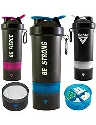 BeMo Mezclador motivacional, tamaño grande de 800ml, recipiente mezclador para batidos de proteínas y suplementos, 100% a prueba de fugas, logotipos de motivación, sin BPA, almacenamiento adicional, anilla y mosquetón para sujetar llaves o a atarlo a una bolsa, Pink, BE STRONG