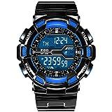 Big Zifferblatt Sport Jugend Junior Student Digital Uhr Mann Prüfung Elektronische Uhr Mit Wecker,Blue