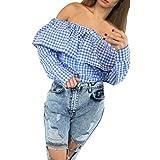 Damen Shirts, FEITONG Frauen Plaid Off Shoulder Tops Langarm Blusen Beiläufige T-Shirt