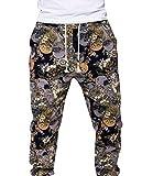 Babysbreath Pantalones cortos para hombre Bohemia Retro Closed Bottom Loose Casual Jogger Pantalones Pantalones Flor L