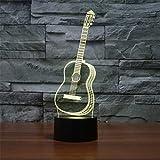 Illusion d'optique 3D LED veilleuse guitare, 7 couleur changeante commande tactile à distance, décoration, cadeau de décoration chambre lampe de bureau...