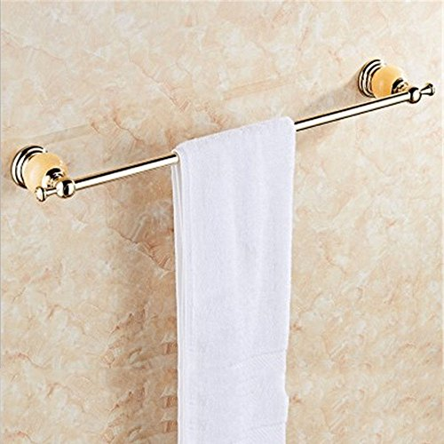Or acier inoxydable baignoire sèche-serviettes de bain racks ornements de jade naturel ensemble brosse WC, barres de serviette