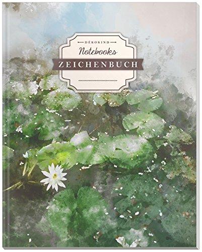 DÉKOKIND Zeichenbuch | DIN A4, 122 Seiten, Register, Vintage Softcover | Dickes Blanko-Notizbuch zum Selbstgestalten | Motiv: Aquarell Teich