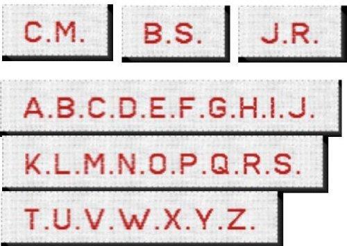 50 Gewebte Textiletiketten mit Wunsch Initialien zur Kennzeichnung von Kleidung. Druckbuchstaben zum Annähen 10mm