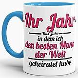 Tassendruck Partner-Tasse Besten Mann geheiratet/-Ihr Jahr -/Individuell/Selbst Gestalten/Liebe/Ehe/Hochzeits-Tag/Geschenk-Idee/Innen & Henkel Hellblau