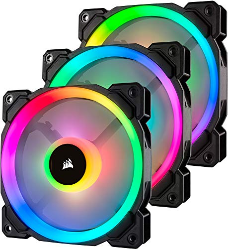 Corsair LL120 RGB, Ventilateur de Boitier Dual Light Loop RGB LED PWM 120mm avec Lighting Node et Hub (Triple Pack)