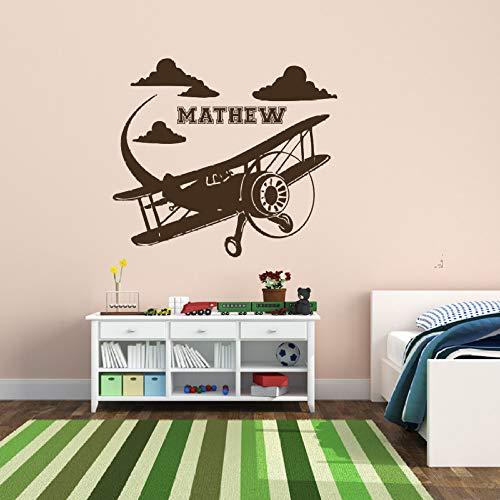 jiuyaomai Flugzeug Personalisierte Name Wandaufkleber Für Kindergarten Kinder Jungen Schlafzimmer Spielzimmer Vinyl Aufkleber Wohnzimmer Kunst Dekor braun 56X56 cm