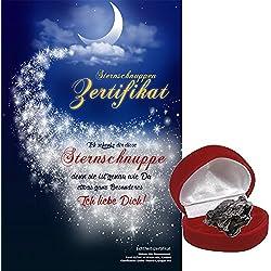 Echte Sternschnuppe in roter Herzbox - inkl. Sternschnuppenzertifikat mit romantischer Widmung | als romantisches Hochzeitsgeschenk, als Geschenk zum Geburtstag, zum Jahrestag oder zum Valentinstag
