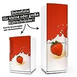 Kühlschrank- & Geschirrspüler-Folie --- Erdbeere in Milch --- Dekorfolie Aufkleber Klebefolie Front