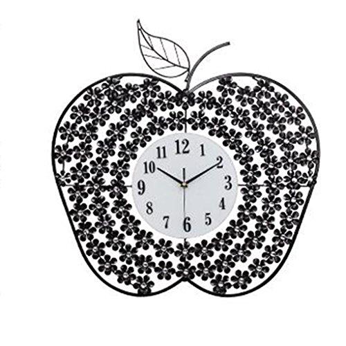 Horloges Murale en métal de Pomme de Diamant de Chambre à Coucher de Chambre à Coucher 25 Pouces (Color : Black)